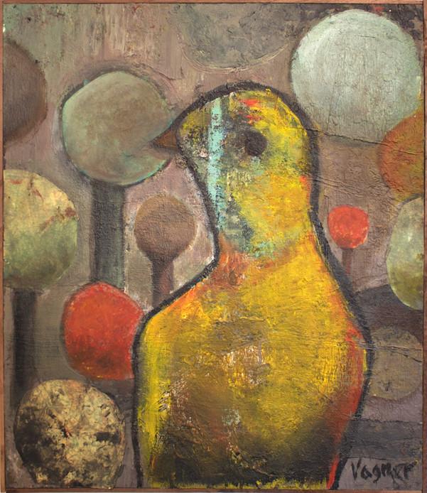 Yellow bird. Mixed media on Plywood. 52x60 cm